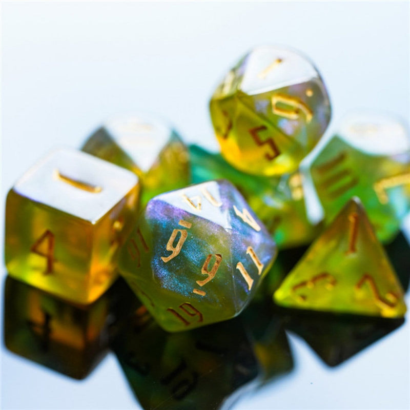 Green and Gold Spell Casting Dice Set