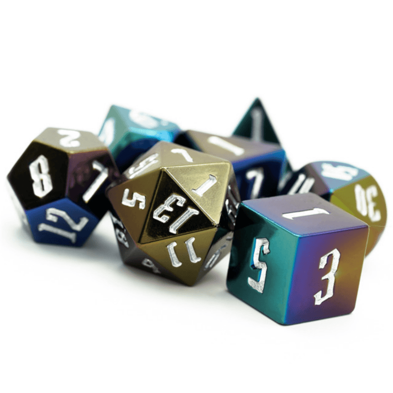 Jumbo Metallic Dice Set with Silver Font