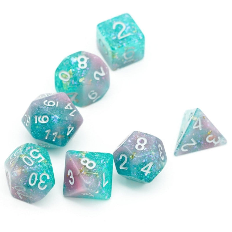 Pink & Green Seabed Treasure Dice Set