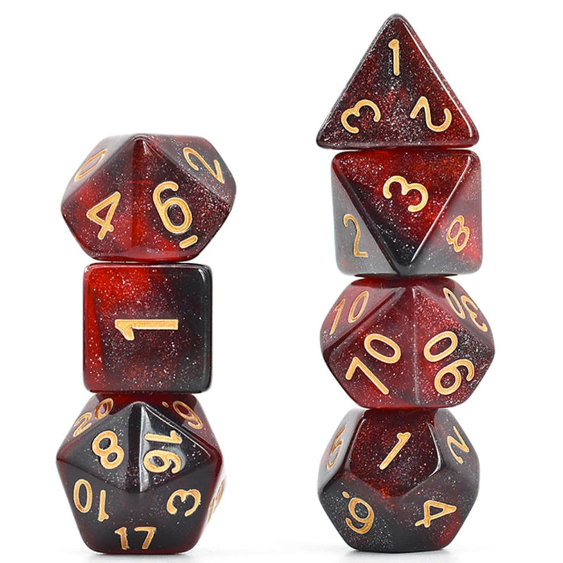Black & Red Galaxy RPG Dice Set