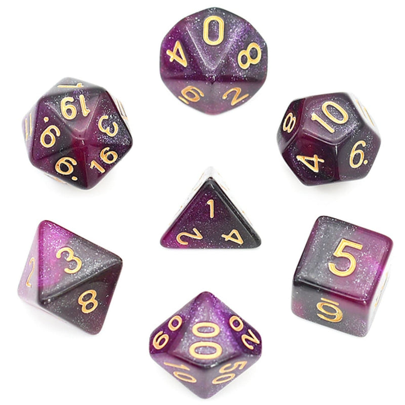Black & Purple Galaxy RPG Dice Set