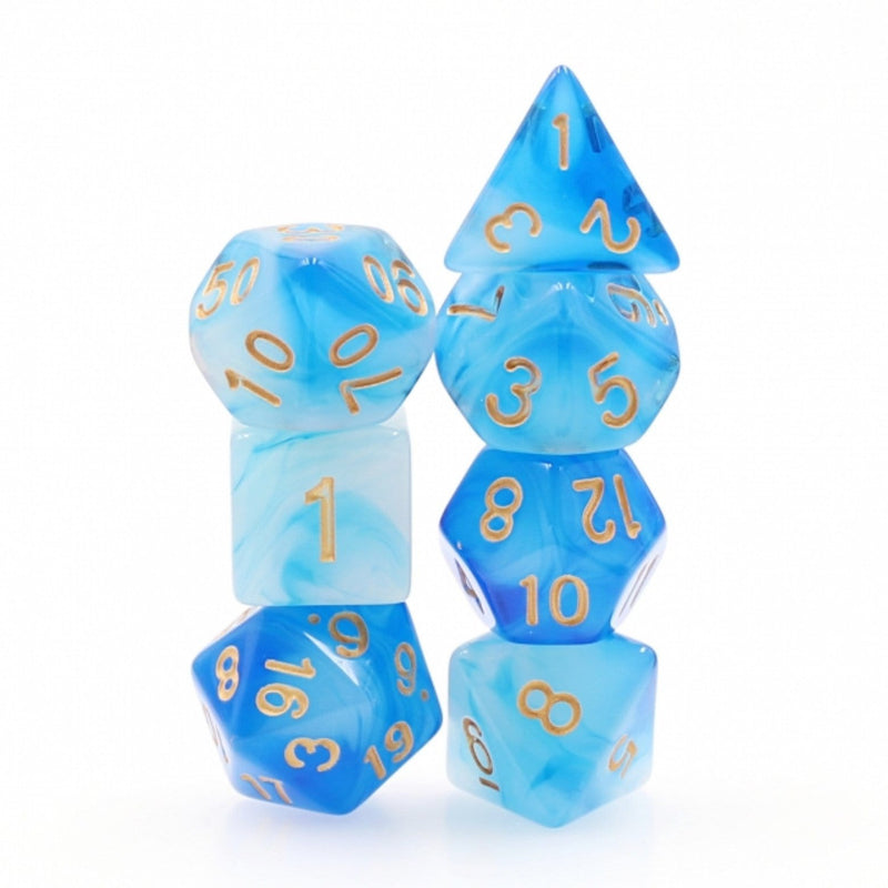 Blue Milky RPG Dice Set