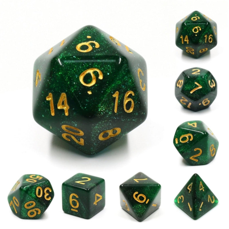 Green Galaxy RPG Dice Set