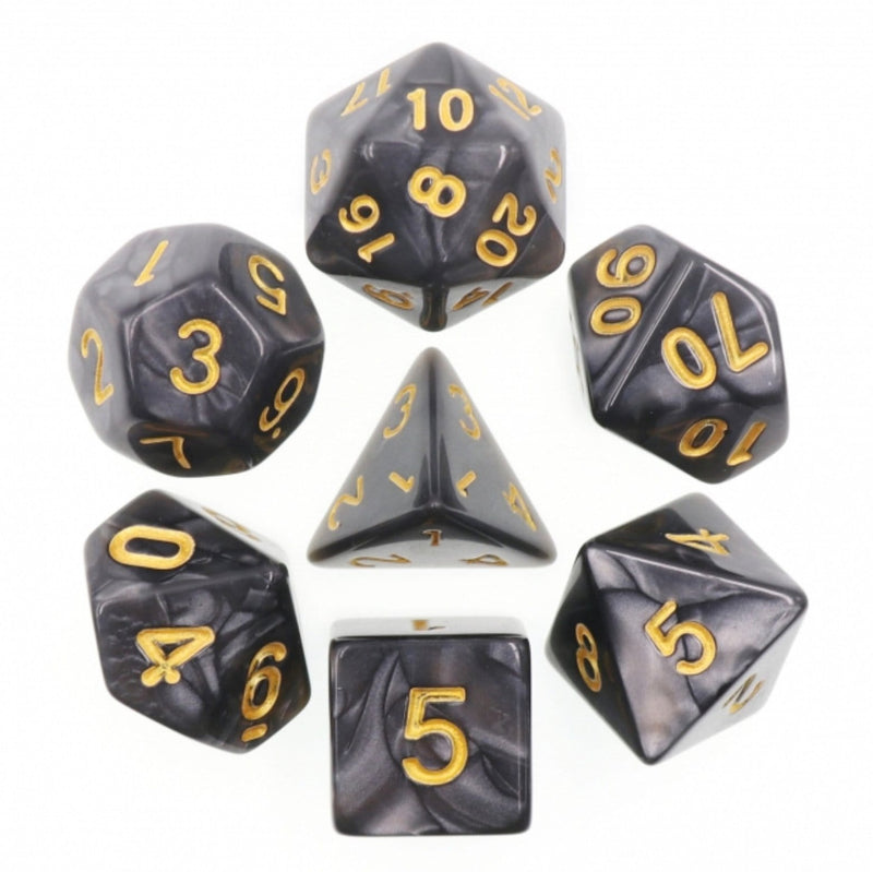 Black Pearl with Gold RPG Dice Set