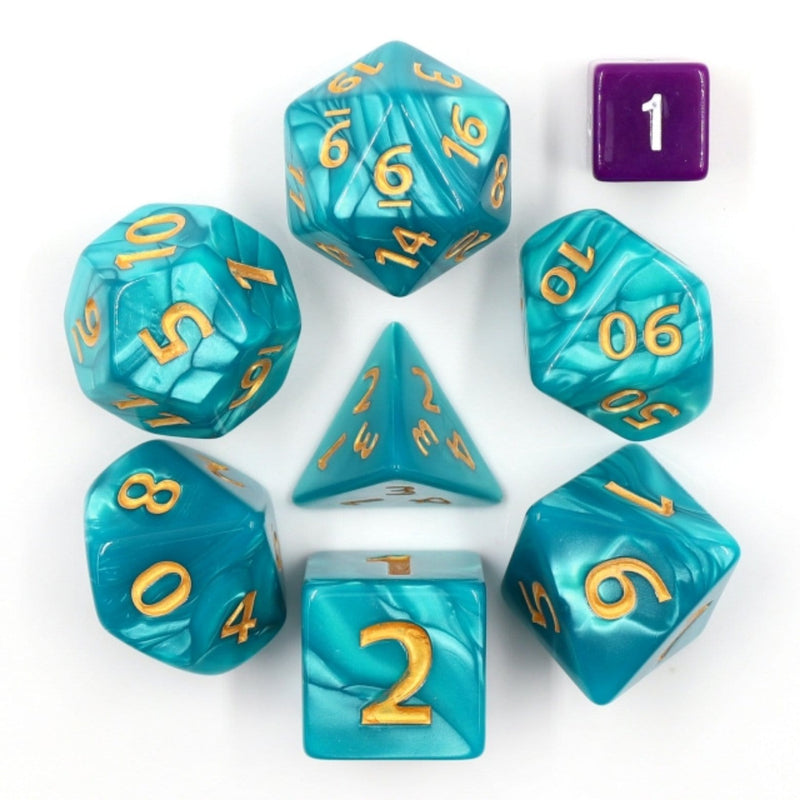 Giant Blue Pearl RPG Dice Set - 30mm