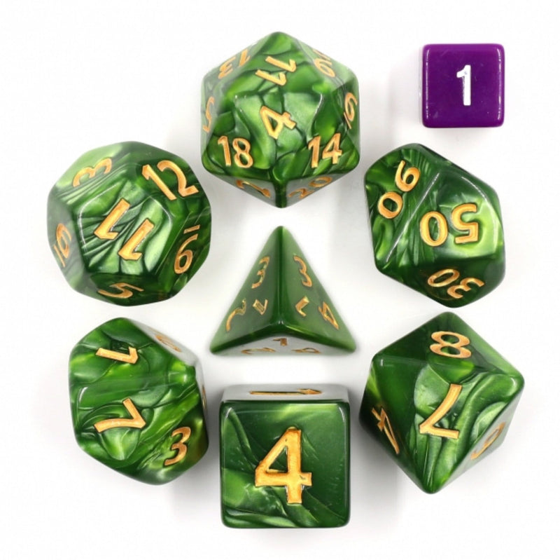 Giant Green Pearl RPG Dice Set - 30mm