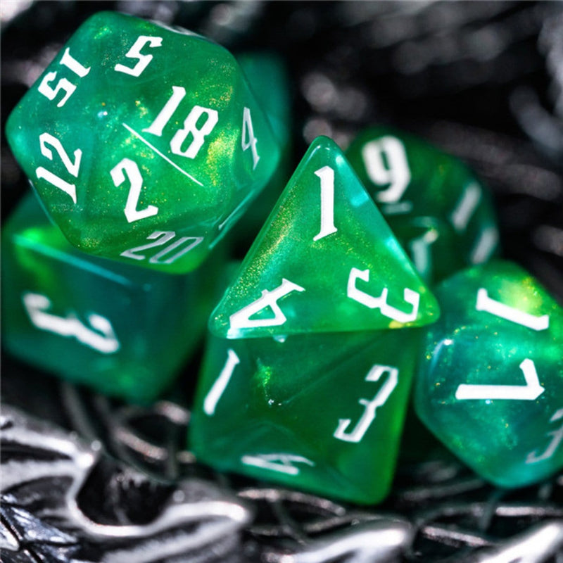 Magician's Green & Yellow RPG Dice Set