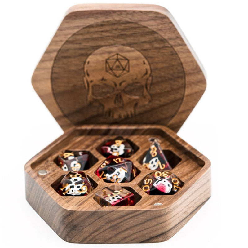 Walnut Hexagon Wooden Dice Box with Skull