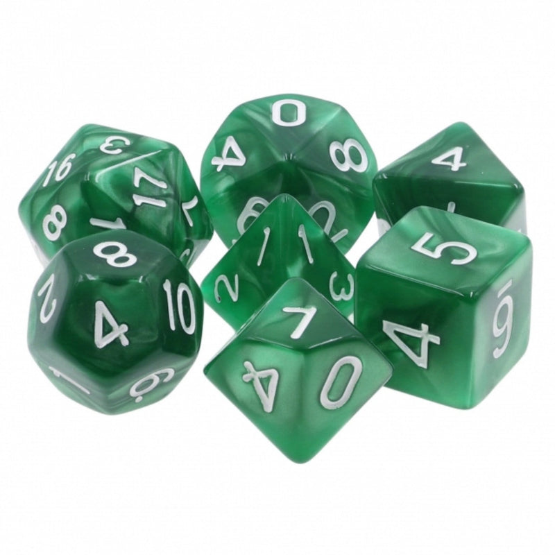 Green Pearl with Silver RPG Dice Set