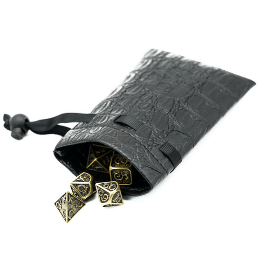 Black Leatherette Dice Bag with Skull