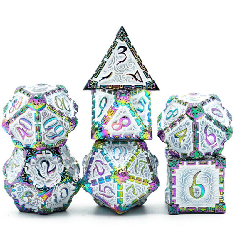 Dagger of Venom: White Rainbow RPG Metal Barrel Dice Set