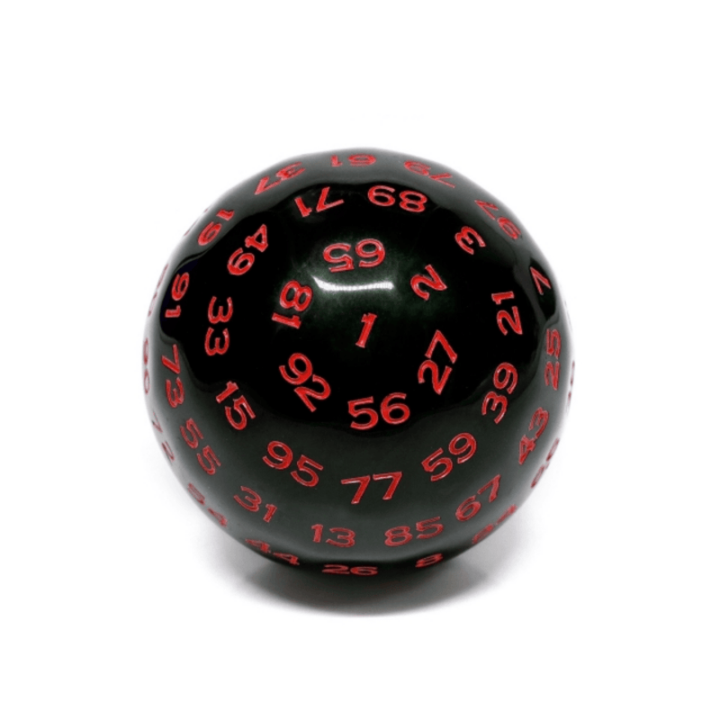 100 Sided Die - Black Opaque with Red D100