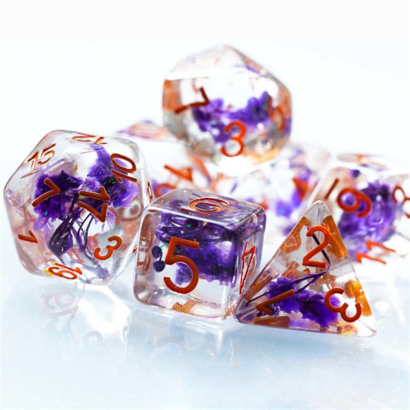 Purple Flowers RPG Dice Set