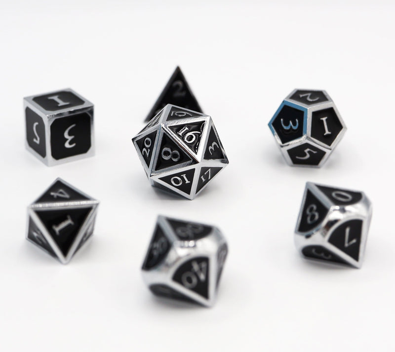 Silver Embossed Onyx RPG Dice Set