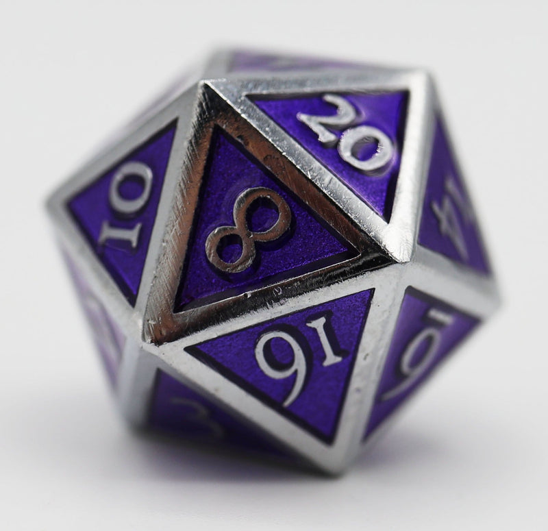 Silver Embossed Amethyst RPG Dice Set