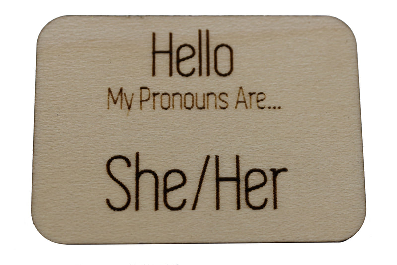 Pronoun Pins: She/Her Hello Pins