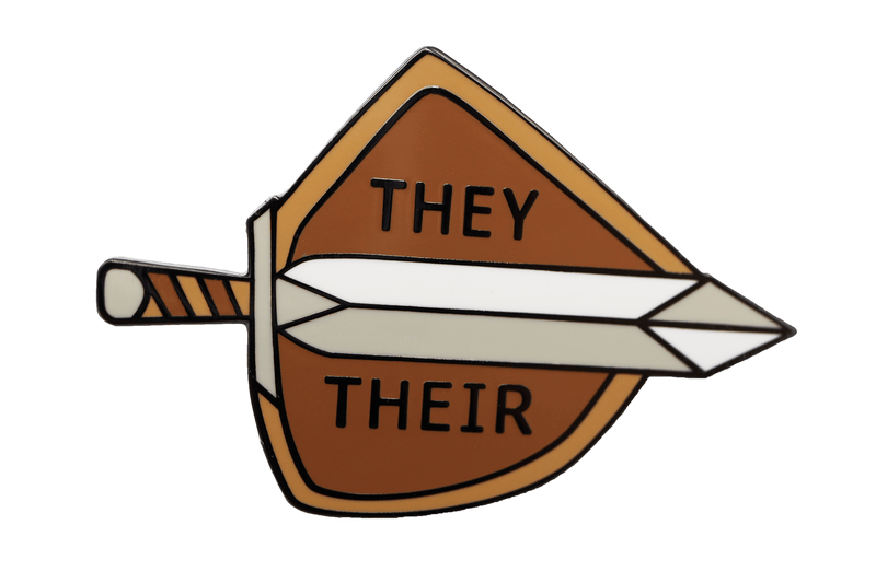Sword and Shield Pronoun Pin