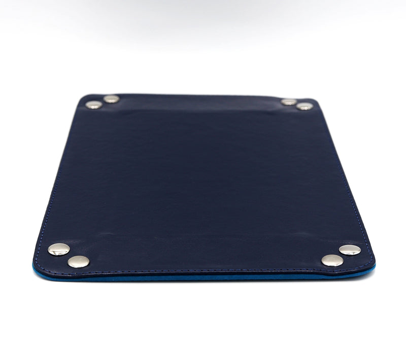Leather & Velvet Dice Tray (Navy w/ Teal)