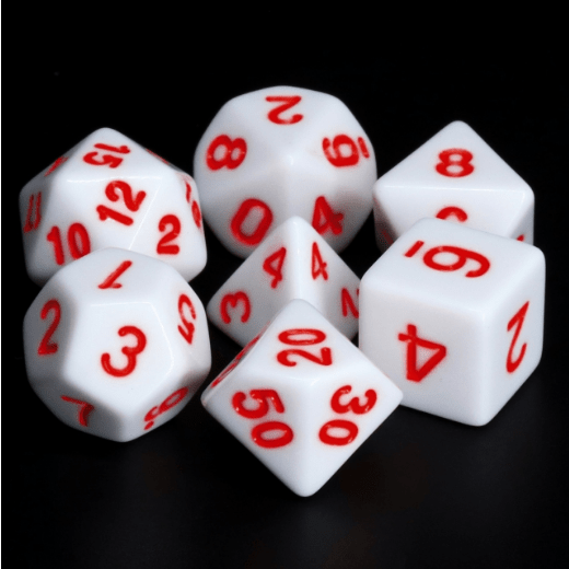 White Void with Red RPG Dice Set