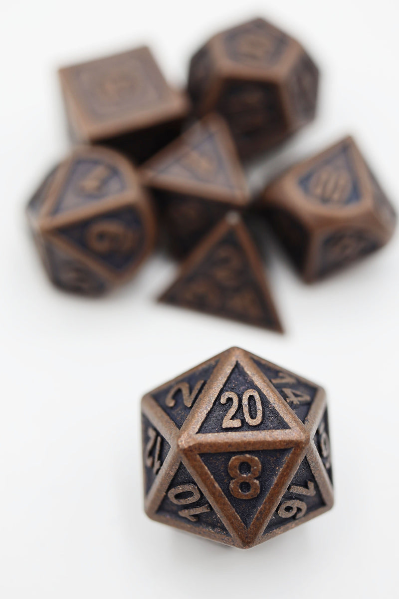 Embossed Antique Copper Metal RPG Dice Set