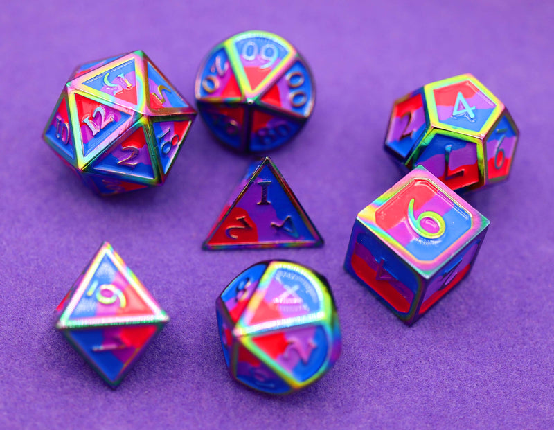 Bisexual Pride Flag - RPG Metal Dice Set