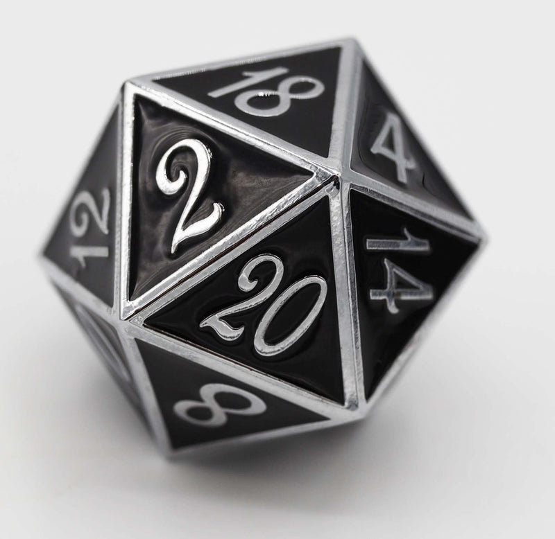 D20 Silver with Onyx - 35mm Extra Large