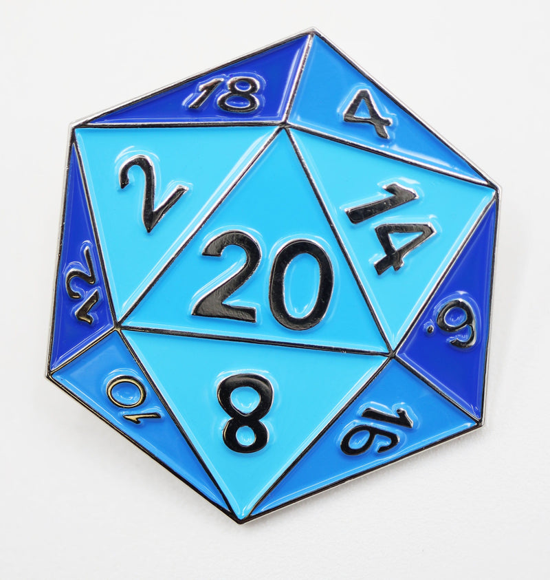 Blue D20 Enamel Pin