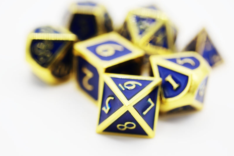 Gold with Sapphire RPG Dice Set