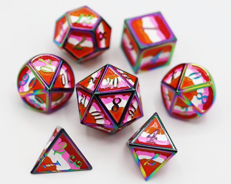 Community Lesbian Pride Flag - RPG Metal Dice Set