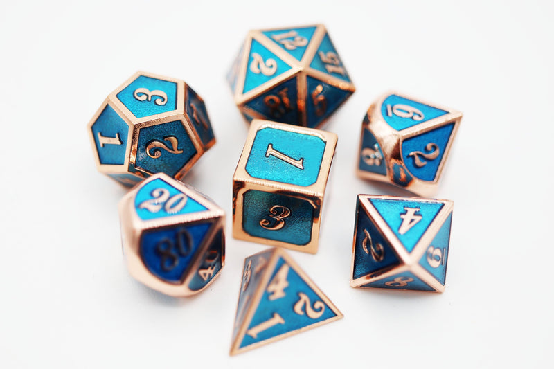 Copper with Tanzanite RPG Metal Dice Set