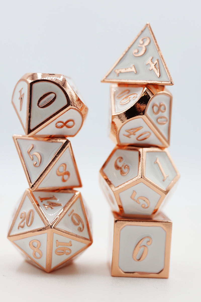 Copper Embossed White RPG Dice Set