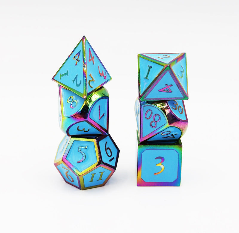 Burnt Opal with Blue RPG Dice Set