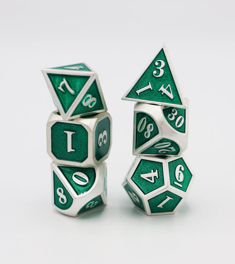 Silver with Emerald RPG Dice Set