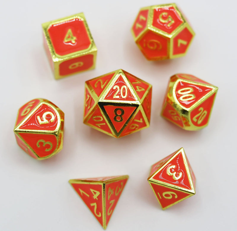 Orange Glow in the Dark with Gold RPG Dice Set