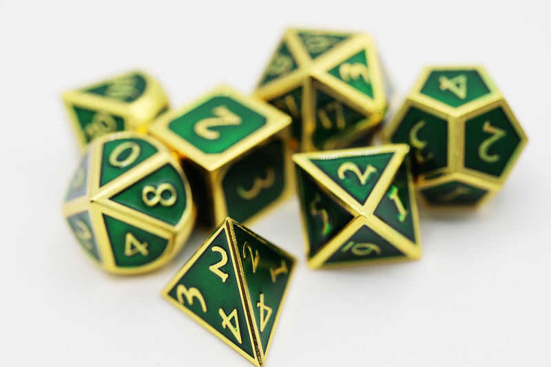 Gold with Emerald RPG Dice Set