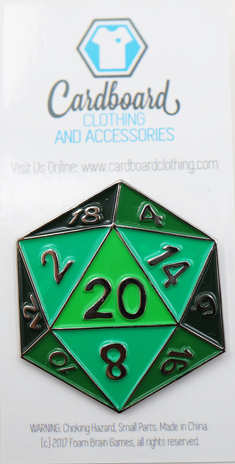 Green D20 Enamel Pin