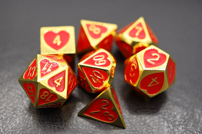 Gold and Red Hearts Metal RPG Dice Set