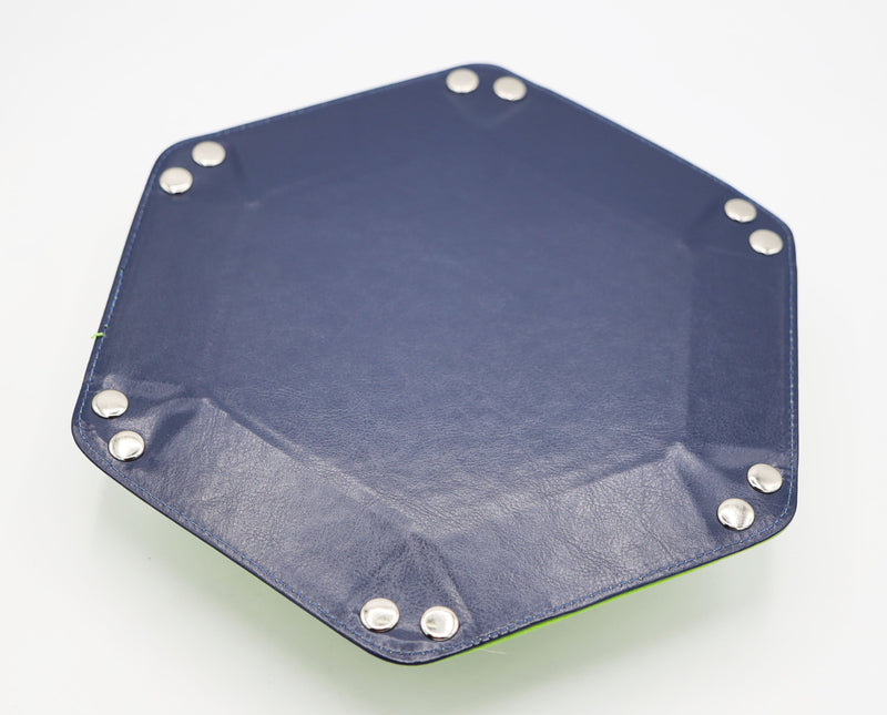 Leatherette & Velvet Hex Dice Tray (Navy with Lime)