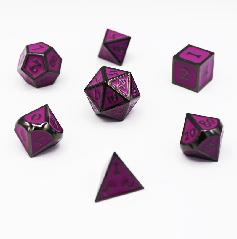 Midnight Metal with Purple RPG Dice Set