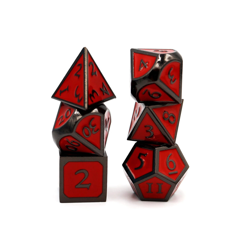 Midnight Metal Embossed with Red RPG Dice Set
