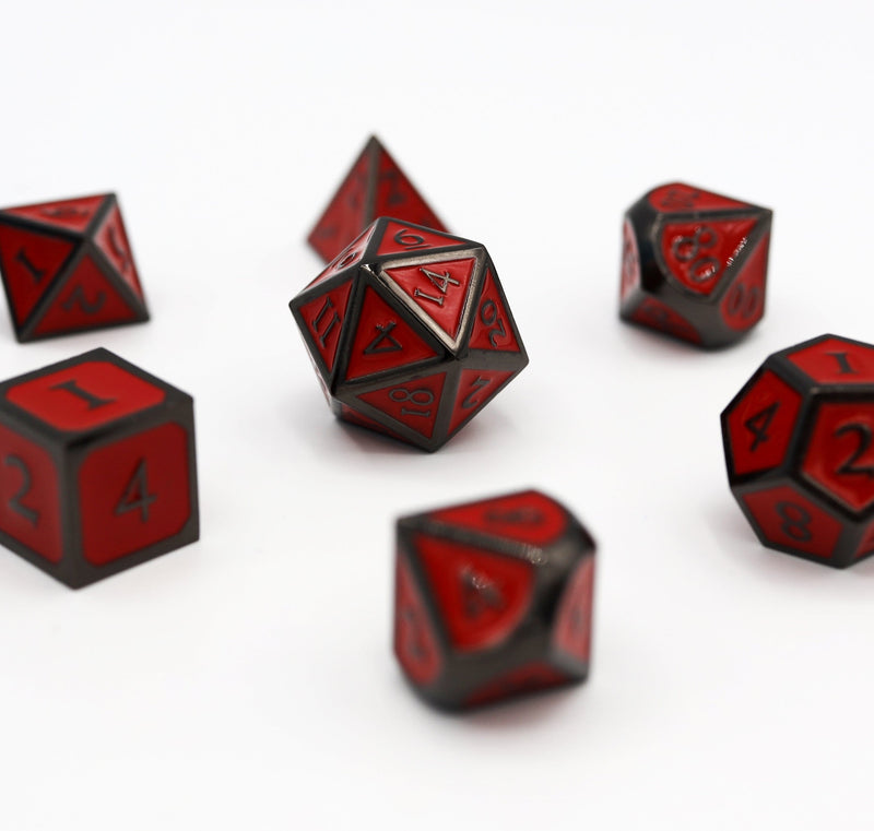 Midnight Metal with Red RPG Dice Set