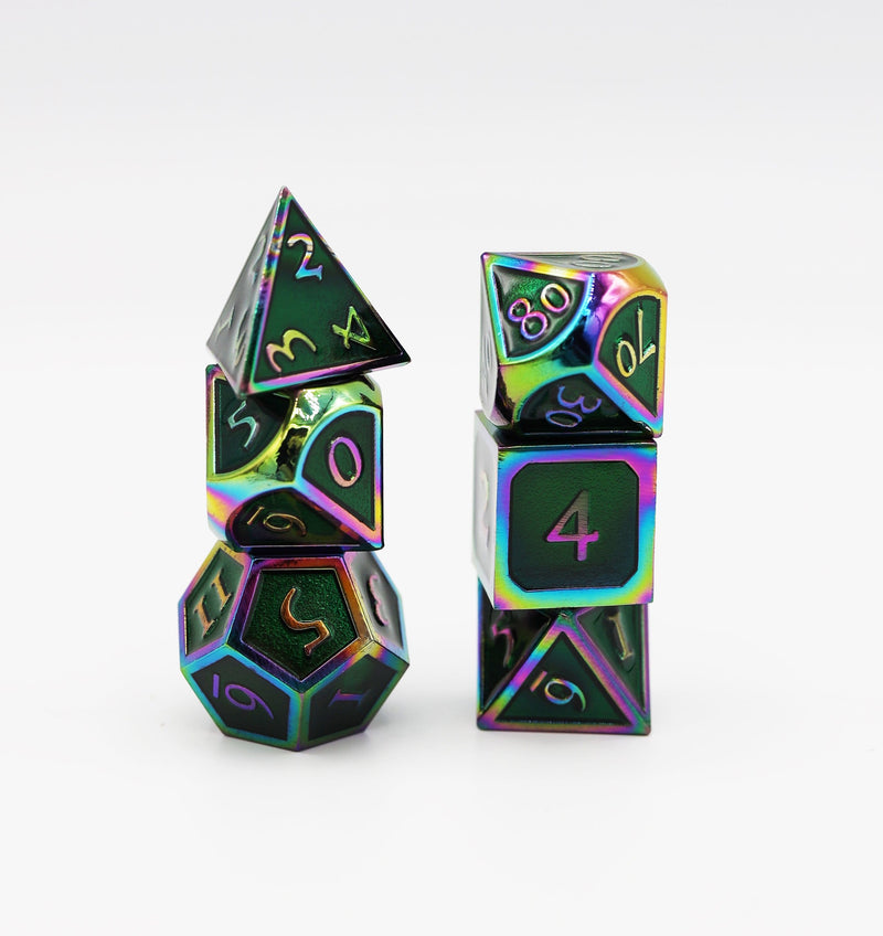 Burnt Opal with Emerald RPG Dice Set