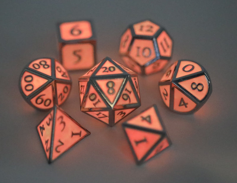 Pink Glow in the Dark with Silver RPG Dice Set