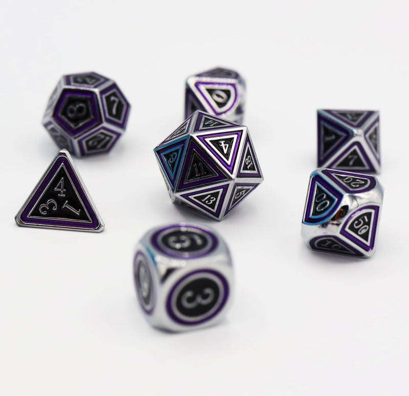 Purple Orbit and Black RPG Dice Set