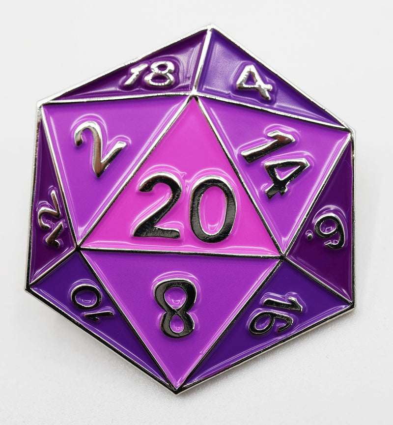 Purple D20 Enamel Pin