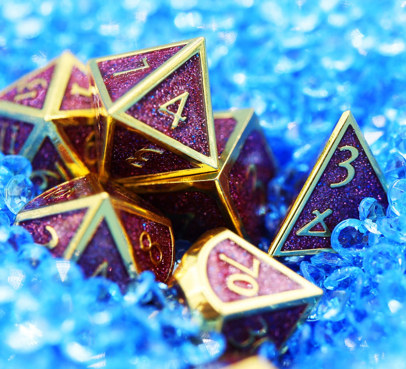 Gold with Purple Glitter RPG Dice Set