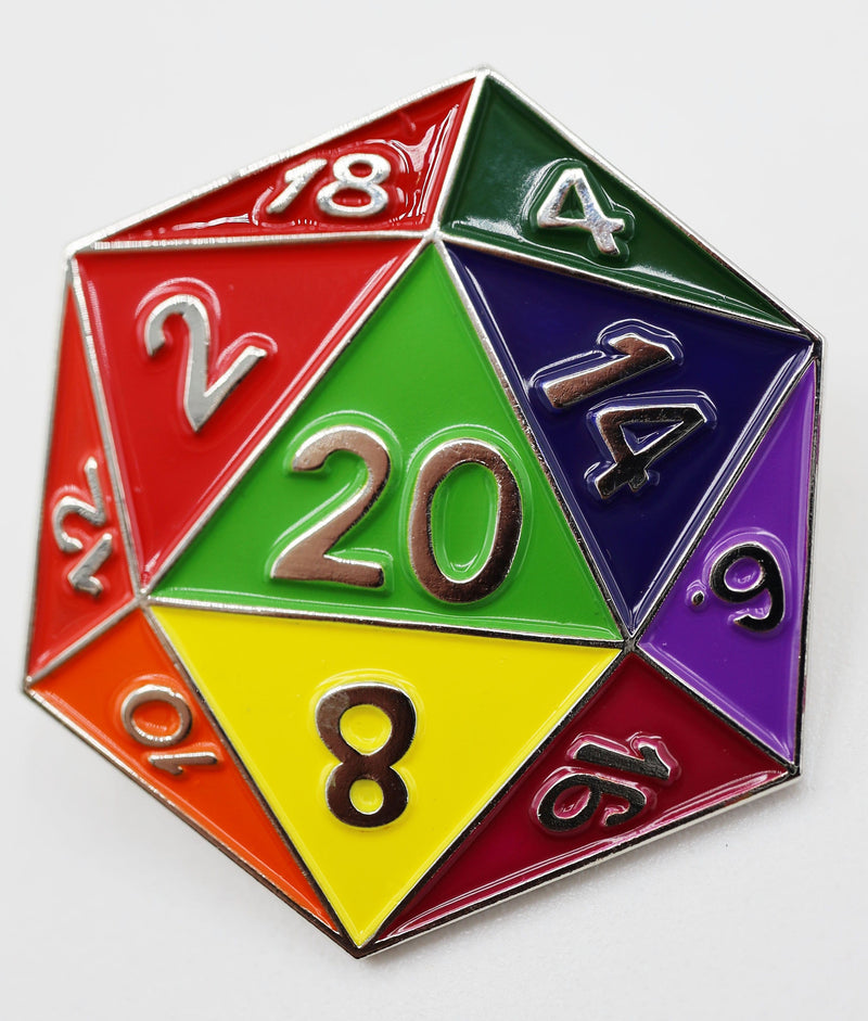 Rainbow D20 Enamel Pin