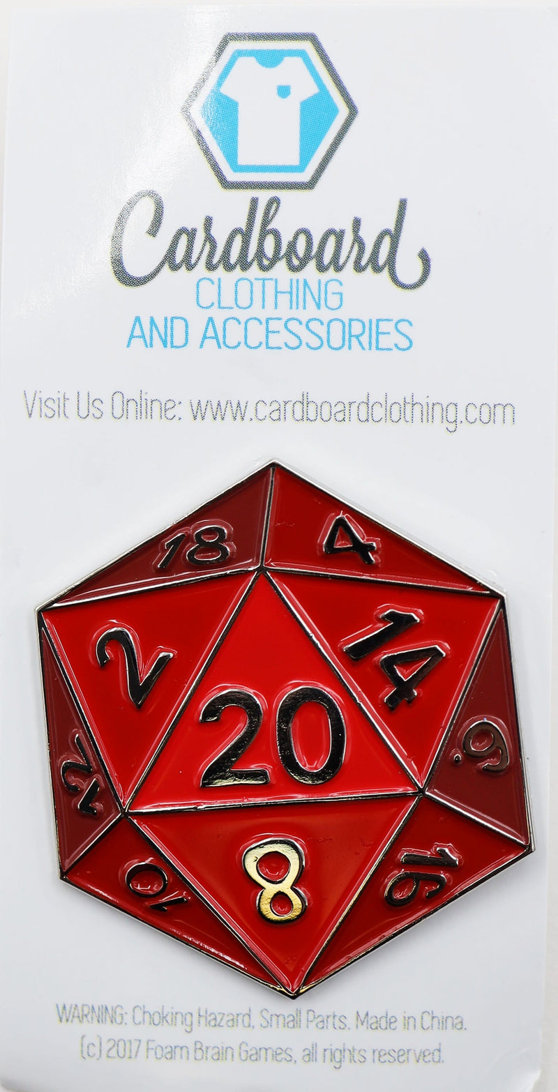 Red D20 Enamel Pin