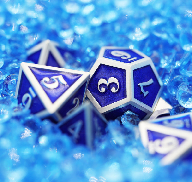 Silver Embossed Sapphire RPG Dice Set