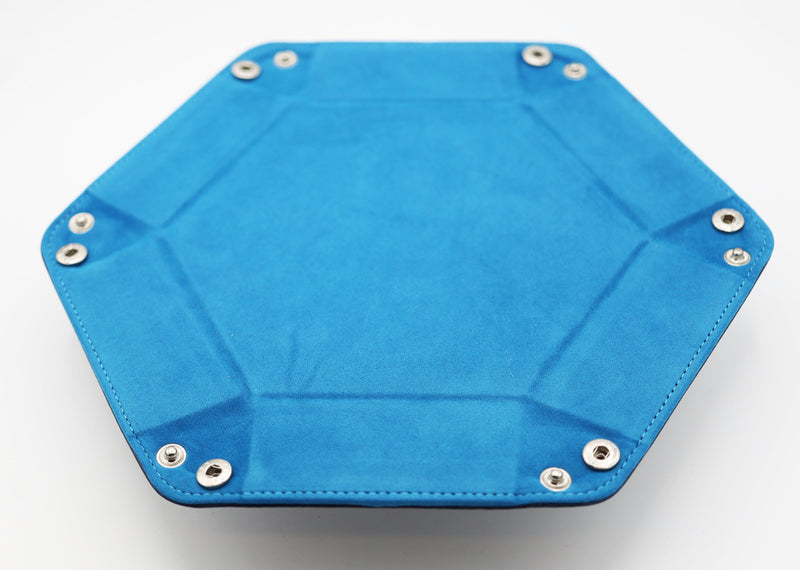 Leatherette & Velvet Hex Dice Tray (Navy with Teal)